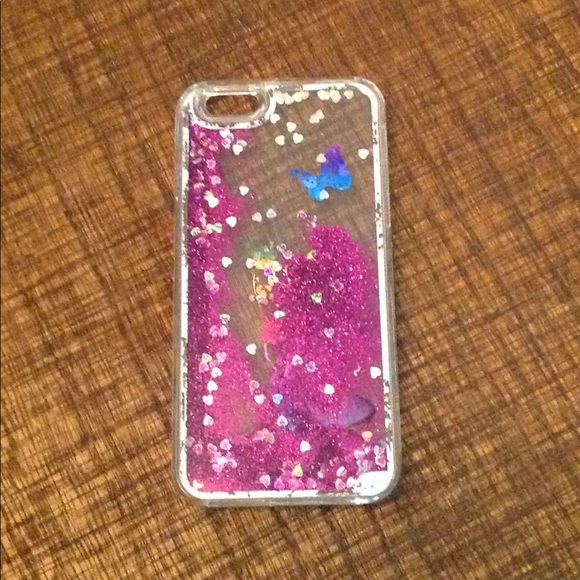 reputable site 2f47d ecded iPhone 6 Case Purple Glitter Liquid Butterfly